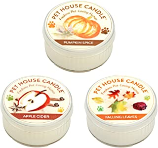 product image for One Fur All Pet House Mini Candle Set, Pack of 3 - Fall Mix - Pet Odor Eliminator Candle, Burn Time - 10-12 Hours Pet Candle, Non-Toxic, Ideal for Smaller Spaces