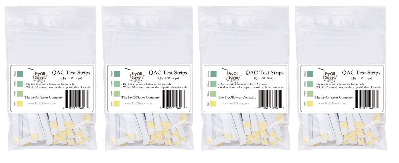 QAC Test Strips, 4 x 100 Strips, Restaurant Quaternary Ammonium Sanitizer Test Strips, 0-400 ppm, Multi Quat Strips for Food Service, Quaternary Sanitizer Test Strips, 4 x Packets of 100 Strips Each