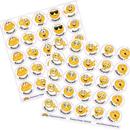 450 x Emoji Autocollants en français pour Enseignants. Taille 28mm Classroom Capers