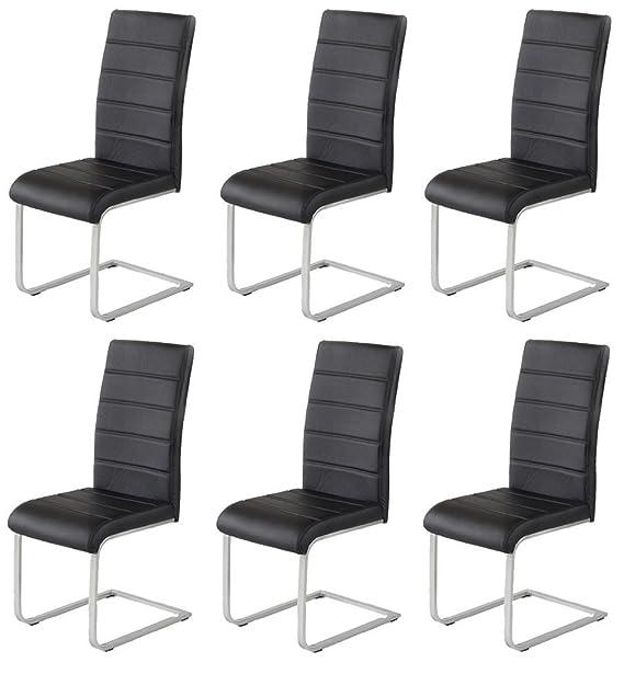 6 x Agionda ® Design Stuhl Freischwinger Jan Piet PU Kunstleder schwarz NEU Jetzt 120 kg belastbar Gestell einteilig Polsters
