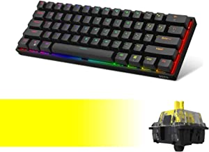 DK61E 60% Mechanical Gaming Keyboard with Fastest Yellow Gateron Optical Switch, RGB Backlit Wired PBT Keycap Waterproof Type-C Compact 61 Keys Computer Keyboard with Full Keys Programmable by DIERYA