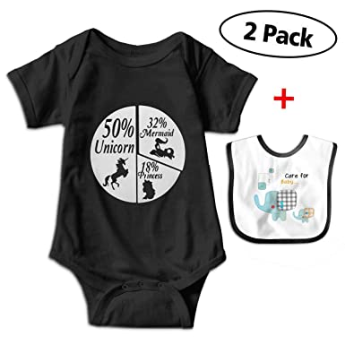 d48637f59 Amazon.com: 50% Unicorn 32% Mermaid 18% Princess Newborn Baby Funny Cotton  Bodysuits Rompers Outfits: Clothing