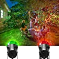 Fuloon Kaleidoscope Waterproof Magical Spotlight Rotating Led Crystal Ball Projector Light Flame Lightings Christmas Halloween Decorations for Trees Home Garden IP65