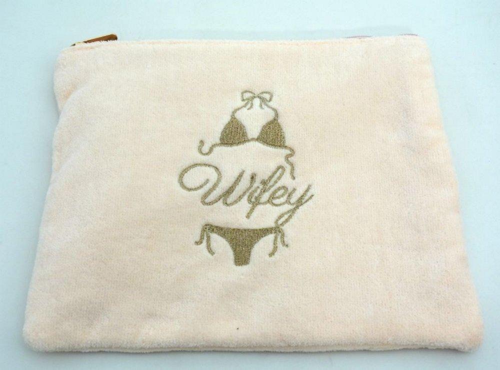 Miamica Pink Gold Embroidered ''Wifey'' Bikini Bathing Suit Beach Bag for your Honeymoon Wedding Gift