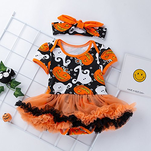 MOKO-PP Infant Toddler Baby Girls Halloween Pumpkin Bow Party Dress Clothes Dresses(yellow,73)