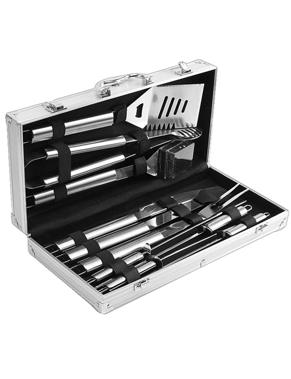 Menschwear BBQ Tool Sets Heavy Duty Stainless Steel Barbecue Accessories Aluminum Case Grill Tools Set (10-Piece) 6 Professional grilling set: grill shovel*1 , fork*1 , knife*1 , tongs*1 , silicone basting brush*1 , grill cleaning brush*1 , skewers*4 . Shovel has a razor sharp serrated edge on one side for easy cutting of meat, a meat tenderizer on the other side, and a built-in bottle opener. Durable and easy to clean: All stainless steel, this 10-piece grill set won¡¯t chip, tarnish or rust. Stylish and safe: Extended stainless handles add elegance and keep your hands away from the flames.