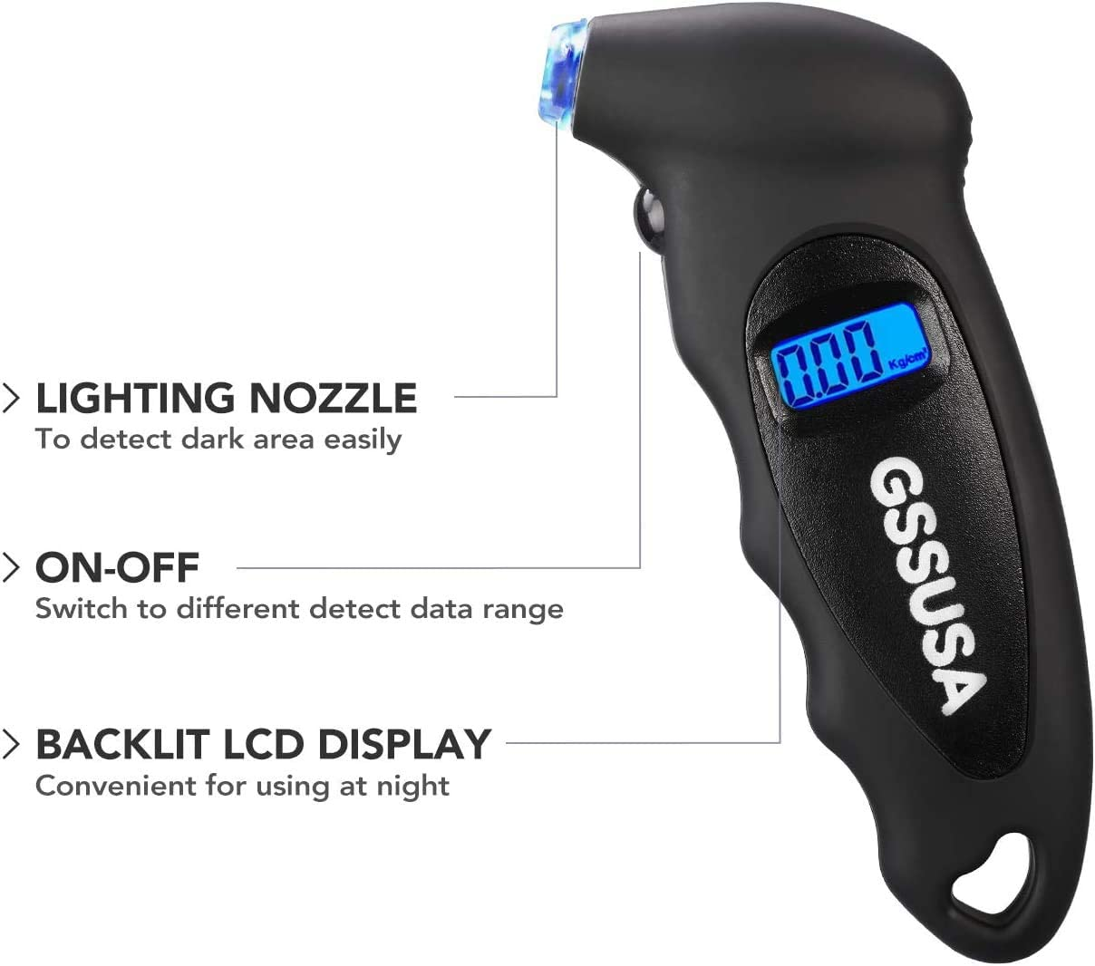 Black 1 Pack Switory Digital Tire Pressure Gauge 150 PSI 4 Settings for Car Motorcycle Truck Bicycle Bike with Backlit LCD Non-Slip Grip /& Lighted Nozzle