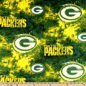 NFL Green Bay Packers Liquid Blue Football Print Fleece Fabric By the Yard 00b29bfdd
