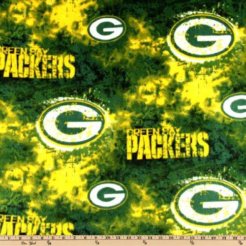 NFL Fleece Green Bay Packers Tie-Dye Green/Yellow Fabric By The Yard