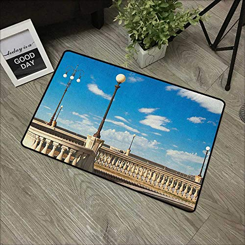 Entrance Mat Italian,Mascagni Terrace Street Promenade of Livorno Tuscany Artwork Print, Sky Blue White and Black,Indoor Outdoor, Waterproof, Easy Clean, Low-Profile Mats,31
