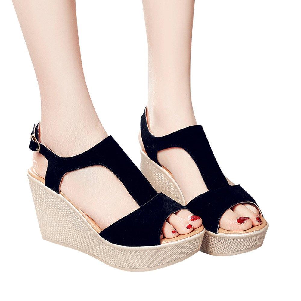 WugeshangmaoWomen's Summer Shoes,Wedge Sandals for Women,Teen Girls' Platform Slope High Heels Buckle Strap Sandals Black