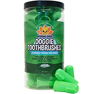 New Gentle Disposable Dog Toothbrushes | Soft High Grade Finger Toothbrush with Silicone Bristles for Pet Dental & Oral Care Teeth & Gums | Bulk Container 50 Pack