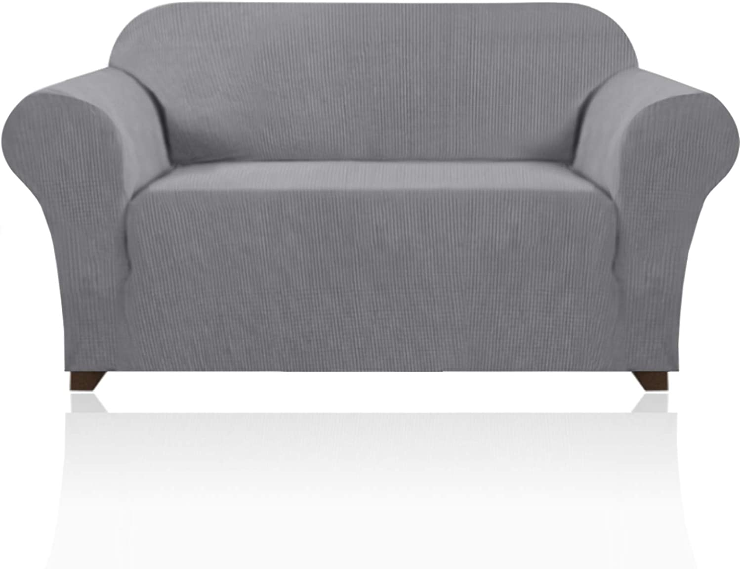 Stretch Sofa Slipcover 1 Piece Sofa Cover for 2 Cushion Couch Furniture Protector/Cover Couch with Elastic Bottom Soft and Durable Sofa Cover Pet Protector (Loveseat, Dove)