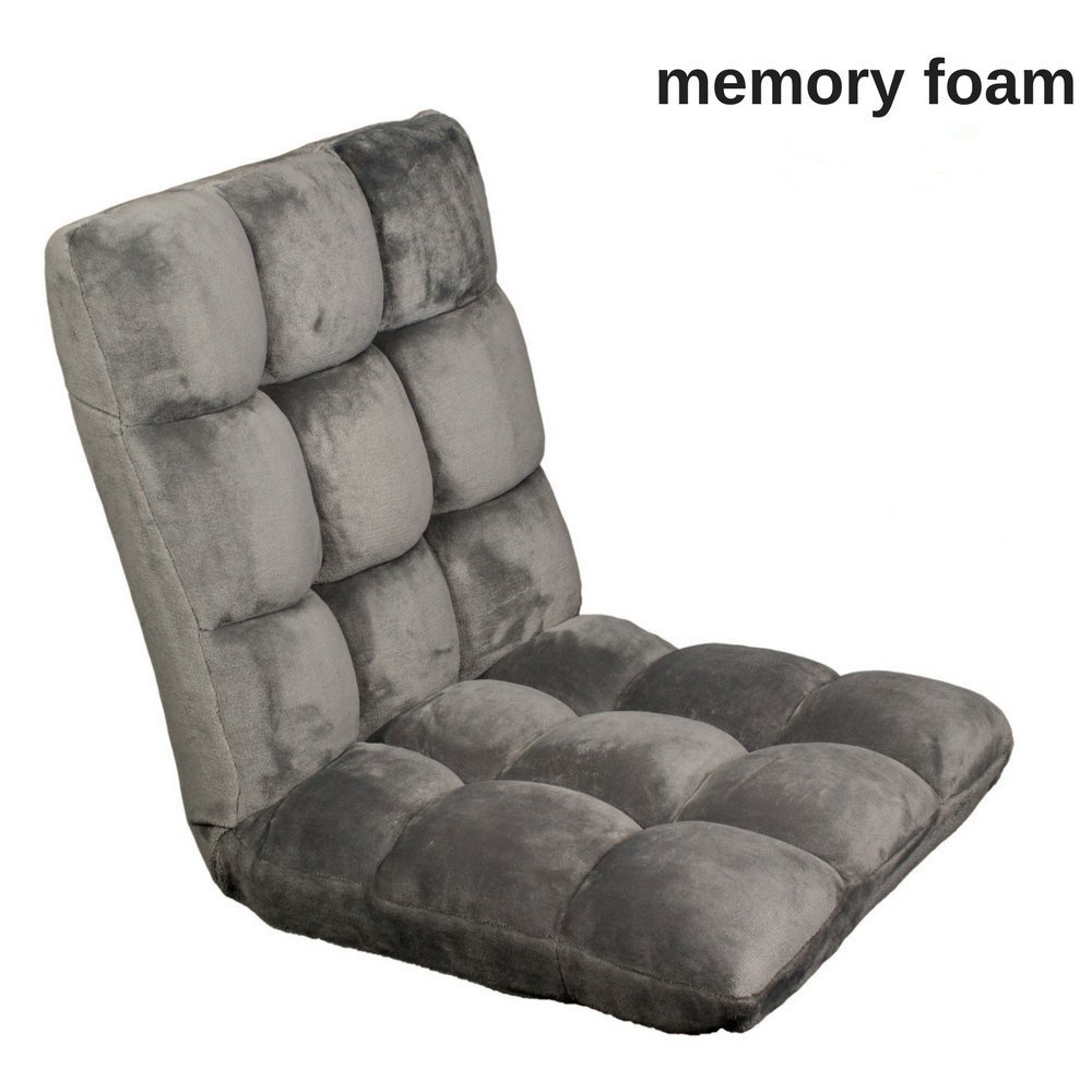Memory foam sofa chair folds to floor | Video gaming floor folding sofa + Lumbar fully adjustable to 14 positions w/ultra soft fabric | Memory foam lounger cushion legless recliner (Grey)