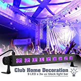 UV Disco Lights, Elfeland 27W 9LED UV LED Bar Black Light Fixture Wall Washer Metallic Blacklight Disco Light Stage Light for Glow Party UV Body Paint Holiday Disco DJ Poster Tapestry