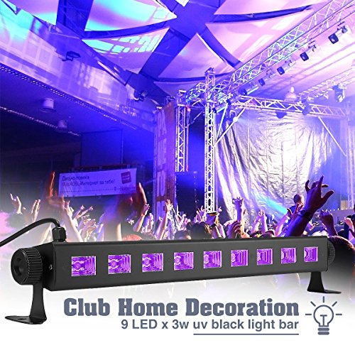 Band Gig Posters - UV Disco Lights, Elfeland 27W 9LED UV LED Bar Black Light Fixture Wall Washer Metallic Blacklight Disco Light Stage Light for Glow Party UV Body Paint Holiday Disco DJ Poster Tapestry