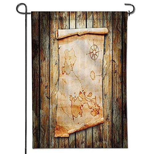 Homesonne Celebrate Patriotic Garden Flag Treasure Map On Rustic Timber Marks The Spot Of Gold Nautical Pirates Concept Decorative Double Sided Flag For Anniversary Decor 12  X 18