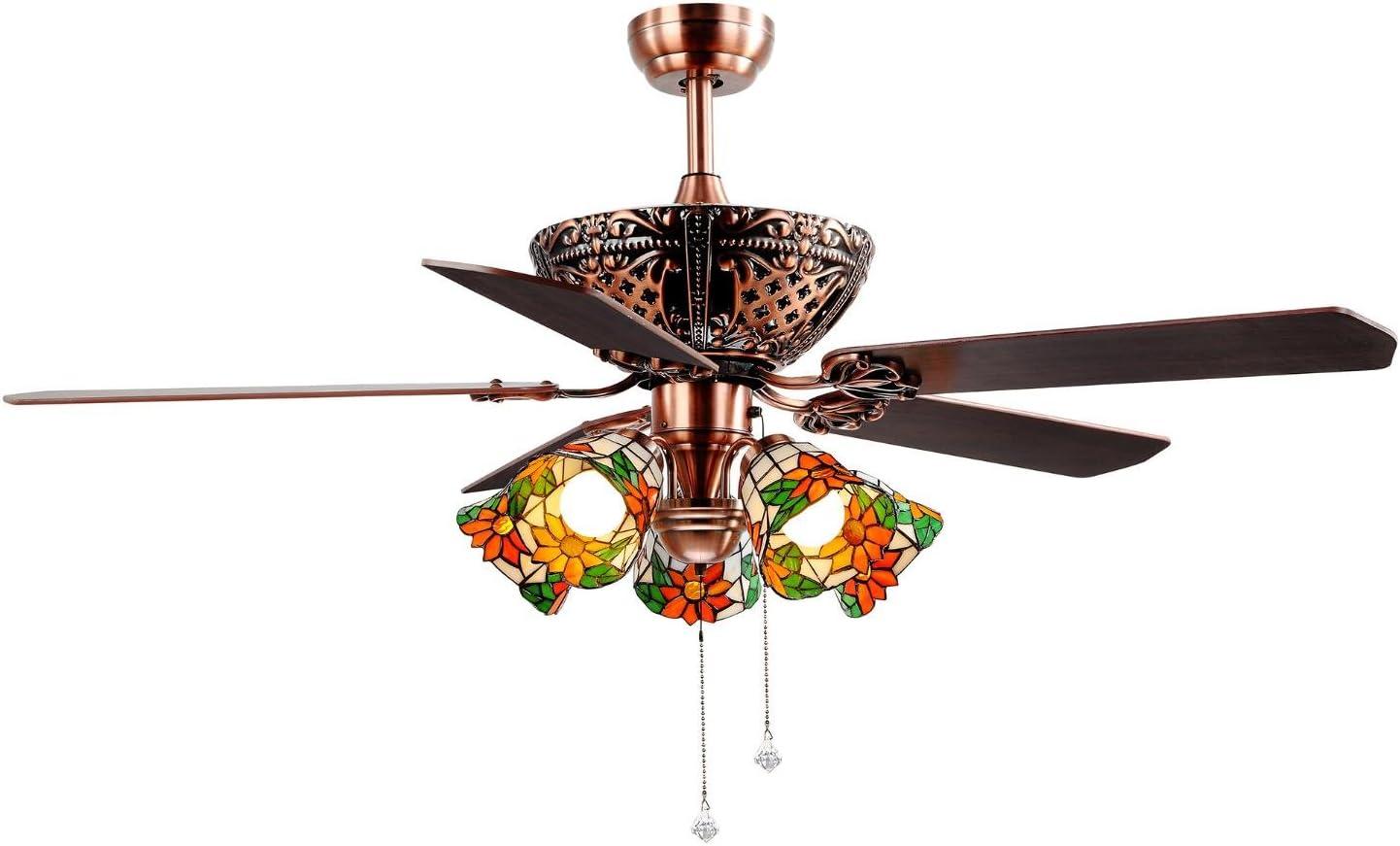 Ventilador de techo con luz 52/60 pulgadas 5 hojas de madera contrachapada 5 soportes de lámpara E27 Remoto de tres velocidades Puede ser hacia adelante y hacia atrás Garantía de un año