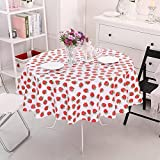 Vinylla Strawberry Easy Wipe Clean PVC Tablecloth Oilcloth, Large by Vinylla