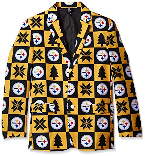NFL Pittsburgh Steelers Men's Patches Ugly Business Jacket, Size 46/Large by Forever Collectibles