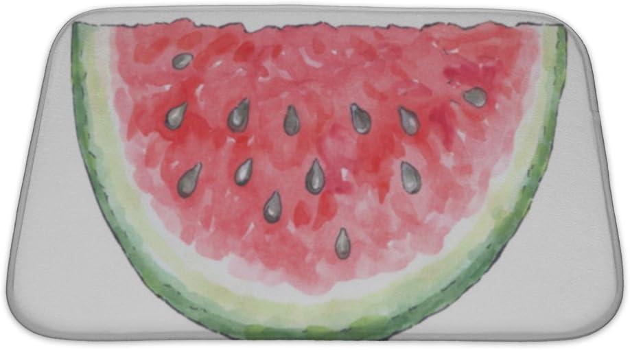 Amazon Com Gear New No Slip Microfiber Memory Foam Watercolor Painting Of A Set Of Fruit Watermelon Bath Rug Mat 24 X 17 Home Kitchen