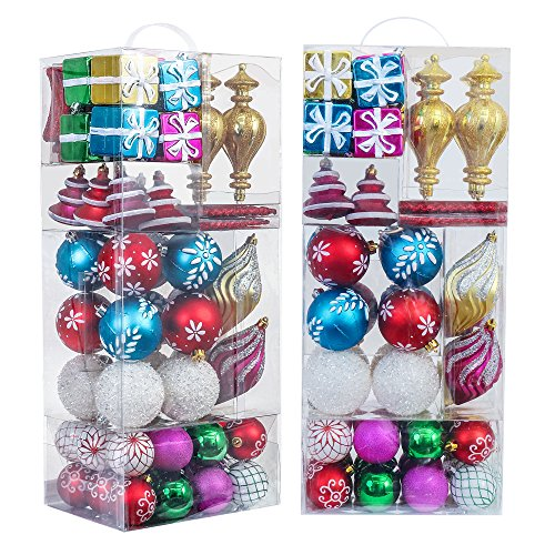 Valery Madelyn 100ct Shatterproof Christmas Balls Ornaments Joyful Multicolored,2.36inch-7.08inch /6CM-18CM,100 Pcs Metal Hooks Included, Themed with Tree Skirt(Not Included)