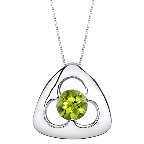 Sterling Silver Trinity Knot Pendant Necklace available in various colored stones