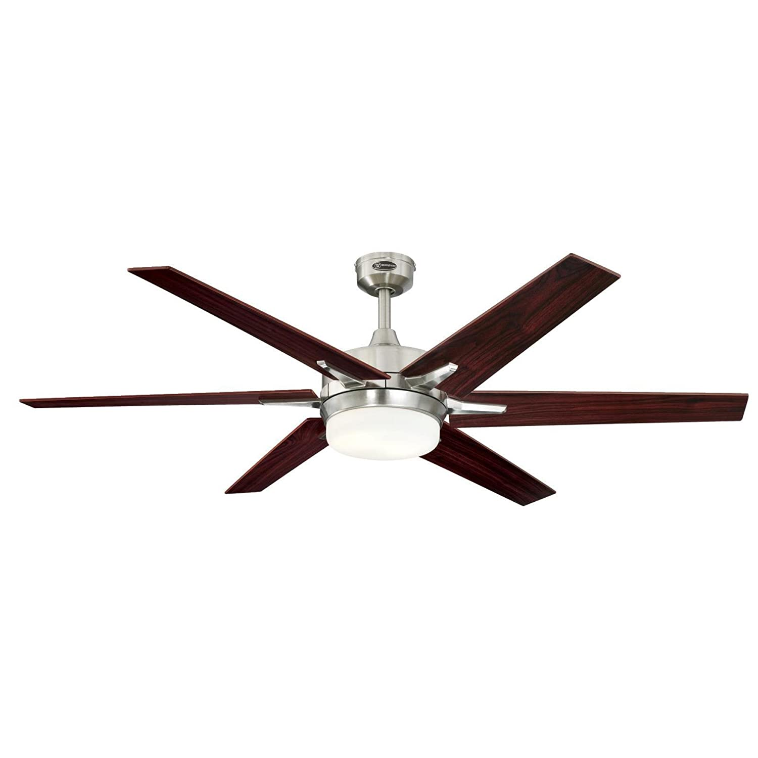Westinghouse Lighting 7207700 Cayuga 60-inch Brushed Nickel Indoor Ceiling Fan, Dimmable LED Light Kit with Opal Frosted Glass