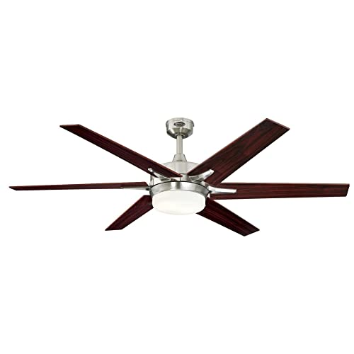 Westinghouse Lighting 7207700 Cayuga 60-inch Brushed Nickel Indoor Ceiling Fan, Dimmable LED Light Kit with Opal Frosted Glass,