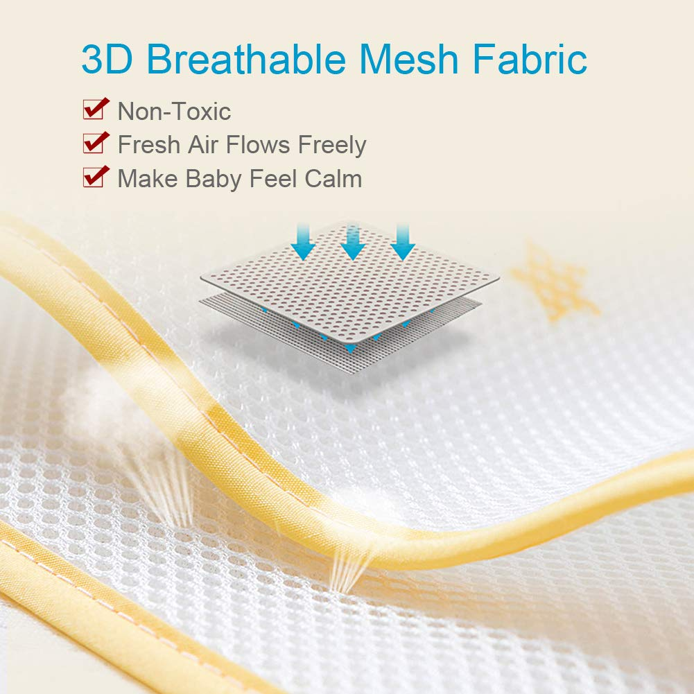 Zoo HePesTer Baby Mesh Crib Bumper with Premium Material Machine Washable/&Easy Assemble Breathable Crib Liner Protects Baby/'s Body from Getting Stuck