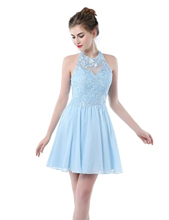 Formal Evening Dress Short Lace Appliqued Knee Length Prom Dresses for Women L039 Light Sky Blue