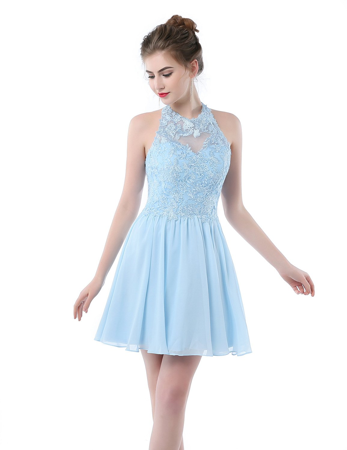 aae3027870ea Women's Applique Short Chiffon Homecoming Dress A Line Prom Dress Sky Blue  Size 10