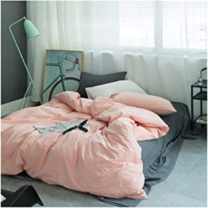 """Cazlon Duvet Cover for Weighted Blanket 60""""x80""""/Pink,100% Washed Cotton, 8 Ties/Just Duvet Cover"""