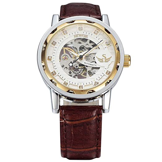 Hermosos Relojes mecánicos Sewor / 614-2 Rhinestone Reloj mecanico Reloj de Mujer Correa de Cuero Reloj de Mujer: Amazon.es: Relojes