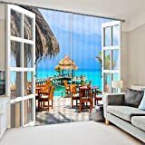 2 Panels Blackout Curtains,3D Summer Beach Scene Print Window Treatment Curtains,Light Blocking Panel Drapes,Kitchen Thermal Curtains,80″ W By 63″ L,Includes Curtain Rings and Hooks Review
