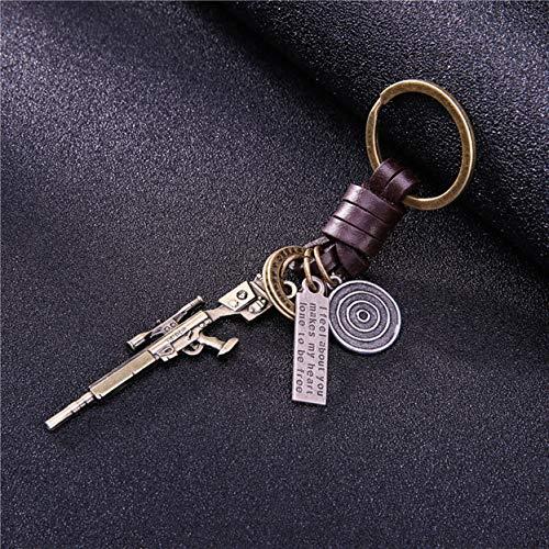 1 Pack Brass Gun Weapon Pistol Leather Trinket Metal Keychain Christmas Pendant Women Bottle Opener Love Heart Keyfob Transcendental Popular Pocket Bag Car Keyrings