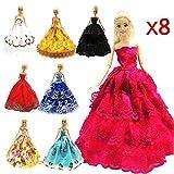 ZHIHU 8 Pcs Barbie Handmade Fashion Wedding Party Gown Dresses & Clothes Xmas Gift