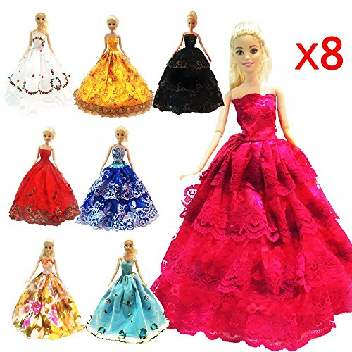 ZHIHU 8 Pcs Barbie Handmade Fashion Wedding Party Gown Dresses  Clothes Xmas Gift