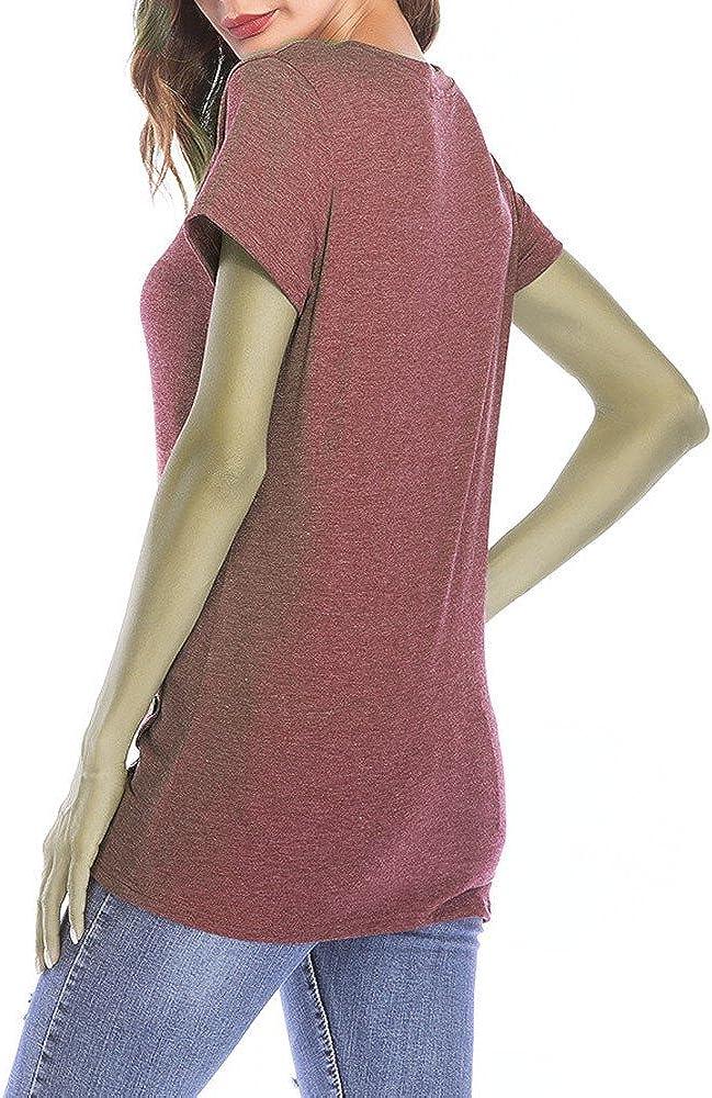 Shusuen Womens Sleeveless Round Neck Henley Tank Tops Button Down Blouse Shirts Tunics