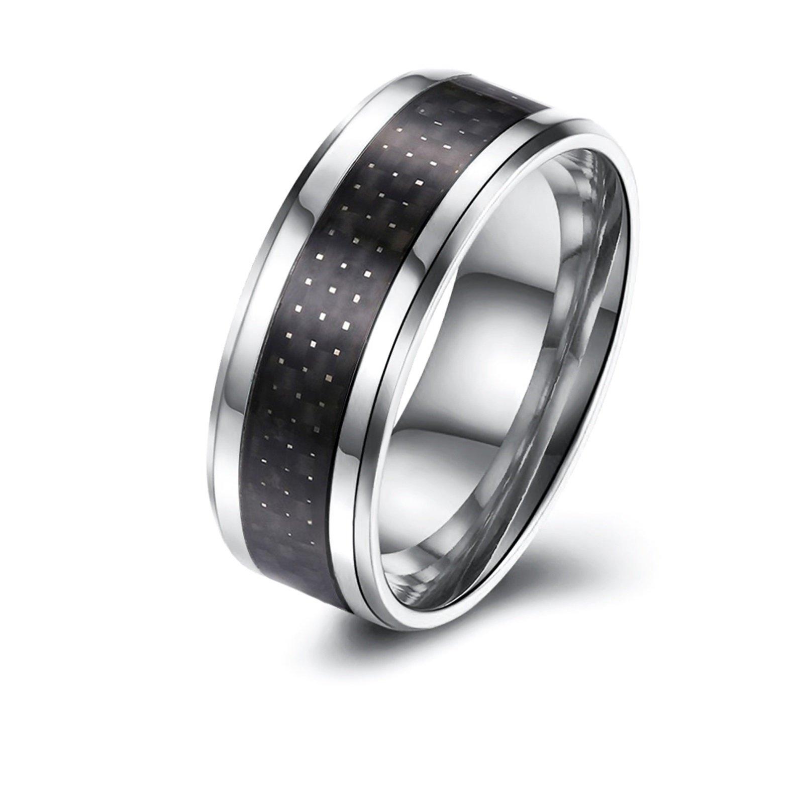 Epinki 8MM Black Carbon Fiber Stainless Steel Carbide Wedding Band Ring Polished Finish Size 10 Men Accessories