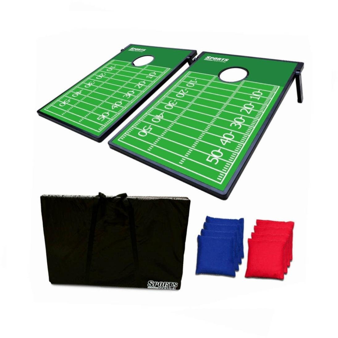 Hohaski Cornhole Game Set with 8 Bean Bags and Travel Carrying Case- Football Field Tic Tac Toe 2 Games In 1