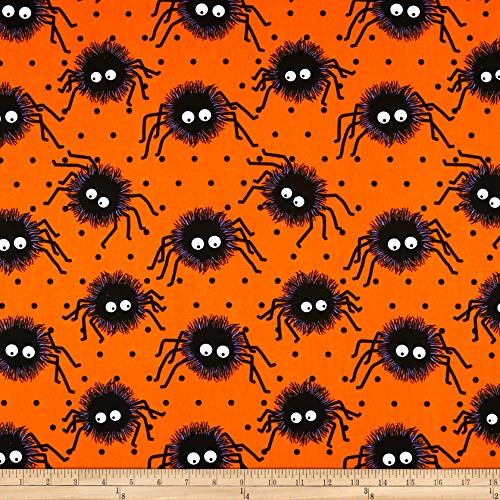 Santee Print Works Halloween Creepy Spiders Fabric, Orange/Black, Fabric By The Yard