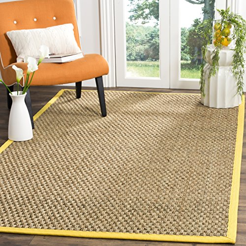 er Collection NF114X Basketweave Natural and Gold Summer Seagrass Area Rug (6' x 9') (6 Gold Area Rug)