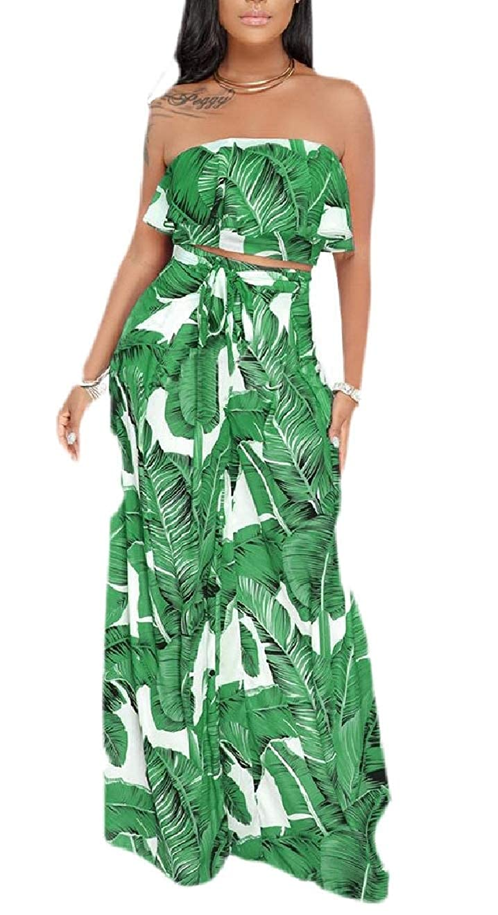 YIhujiuben Womens Flounced Two Pcs Outfits Leaf Print Crop Top /& Palazzo Pants Sets
