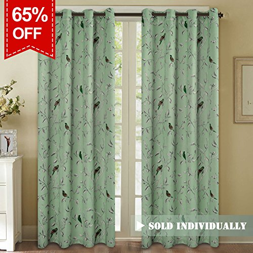 H.VERSAILTEX Elegant Turquoise Birds Pattern Curtain For
