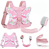 Toddlers Leash + Anti Lost Wrist Link Child Kids Safety Harness Kids Walking Wristband Assistant Strap Belt for Girl Pink The