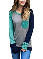 Dokotoo Womens Casual Long Sleeve Crewneck Color Block Pocket Sweatshirt Blouse Tops (S-XXL)