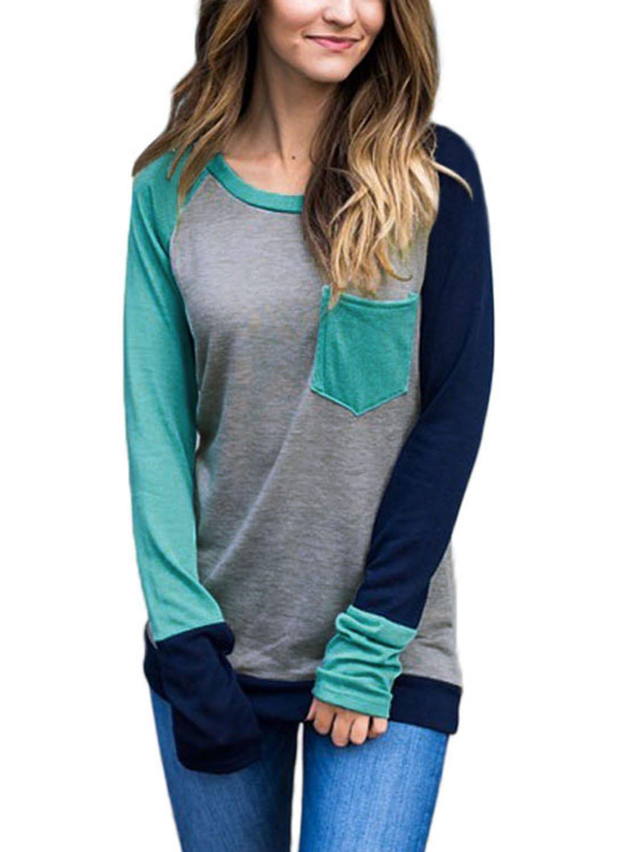 FIYOTE Womens Casual Crewneck Color Block Tunic Shirts Long Sleeve Sweatshirt Tops with Pocket