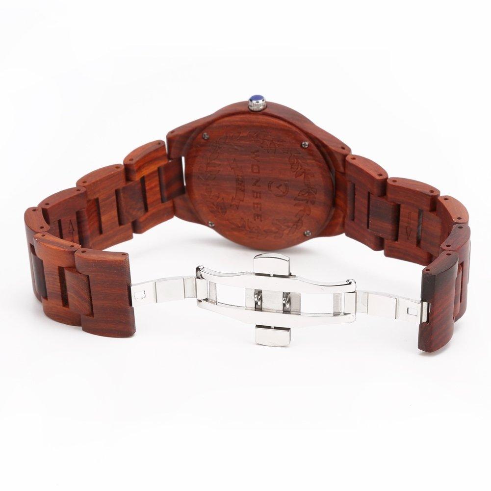 WONBEE Naturlig ebenholts trä herrklocka kvarts armbandsur med japansk kvartsrörelse och stor urtavla - ARABTOON-serien Rödsandelträ