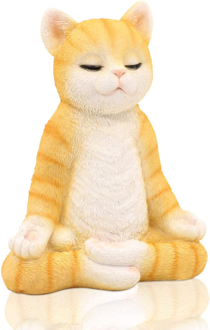 "Meditating Zen Yoga Cat Figurine Garden Statue- Indoor/Outdoor Garden Cat Sculpture for Home, Garden, Patio, Deck, Porch Yard Art or Lawn Decoration, 8.7"" Handmade Poly Resin Full color (Orange)"